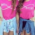 2016 Del Otoño Del Verano Camiseta de La Manera Mejores Perras Letter Print T-Shirt mujeres Sexy Rose Pink Camisetas de Algodón Casual de las camisetas Femme T-F11232