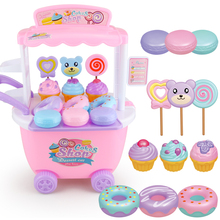 DIY Pretend Play Dessert Car Cake Shop Kitchen Ice Cream Food Role Play Miniature Toys Girls Educational Toy Gift for Children