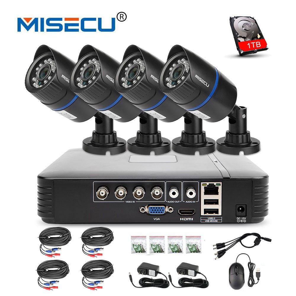 MISECU 4CH 720 p AHD DVR CCTV Système 1.0MP 1200TVL IR de la Vision Nocturne Caméra Extérieure de Sécurité À Domicile Vidéo Surveillance kit