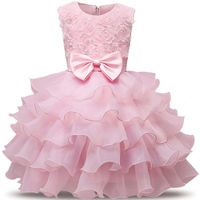 Flower Girl Wedding Party Dress Baptism Pleated Cake Summer Dresses For Party Occasion 1 2 Years
