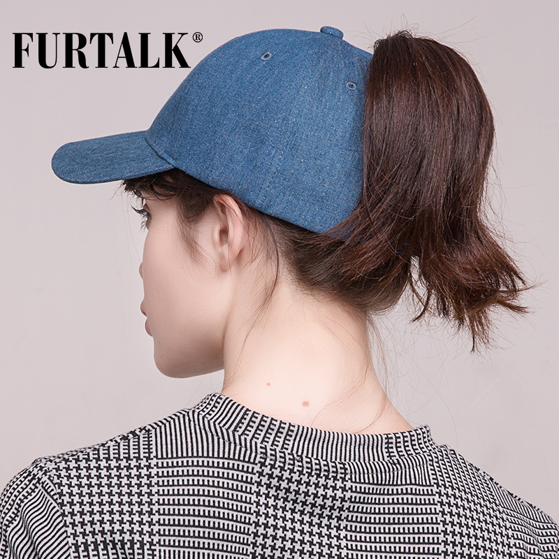 bc3a9364c04 FURTALK Washed Denim Ponytail Baseball Cap Women Messy Bun Baseball Hat  Snapback Casquette hats Gorras HTPU008-in Baseball Caps from Apparel  Accessories on ...