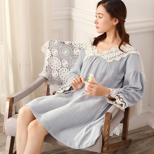 cd34734183 New Arrival Vintage Nightgowns Sleepshirts Elegant Pregnant Lady Dresses  Princess Sleepwear Home Dress Lace Sleep & Lounge CC432