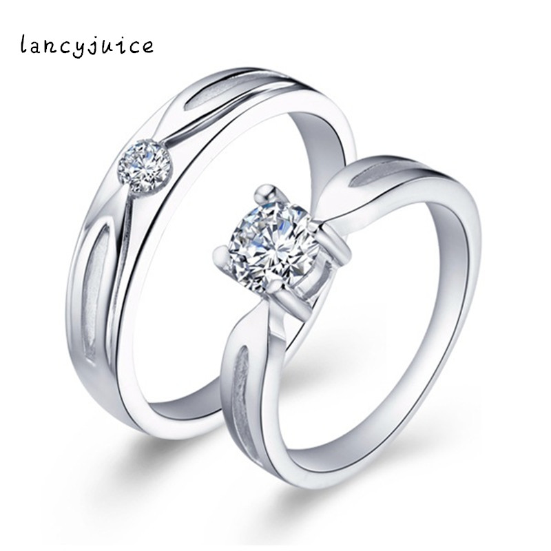 b64a726919 Crystal Jewelry 925 Sterling Silver Ring White Wedding Bands Couple Promise  Cute Rings for Lovers-in Rings from Jewelry & Accessories on Aliexpress.com  ...
