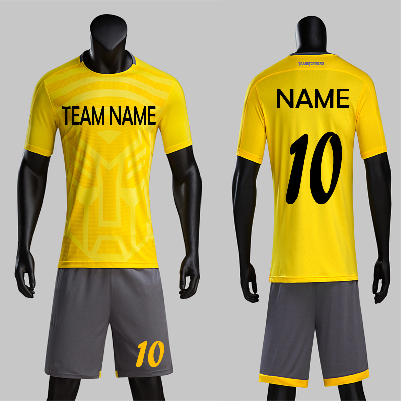 d27c7de86e Envío libre 2018 nuevo modelo trans ex diseño hombres Camisetas de Soccer  amarillo gris DIY personalizado