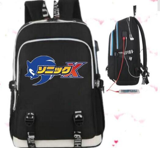 b62988ba366f Горячая продажа Sonic The Hedgehog рюкзак с зарядка через usb женщины плеча  Дорожная сумка мужчины школьные рюкзаки для маленьких девочек рюкзак купить  на ...