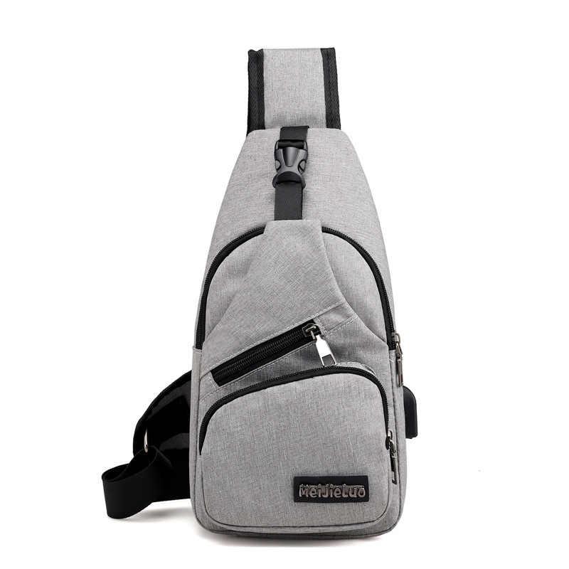 Sacs à bandoulière homme USB chargement sacs à bandoulière hommes Anti-vol sac de poitrine école été court voyage messagers sac 2019 nouveauté