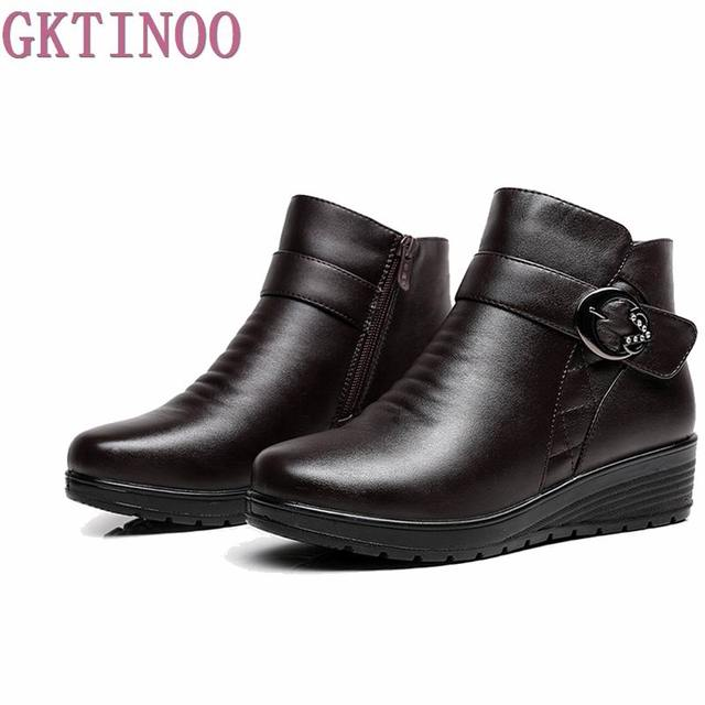 2017 snow boots shoes women soft leather winter boots