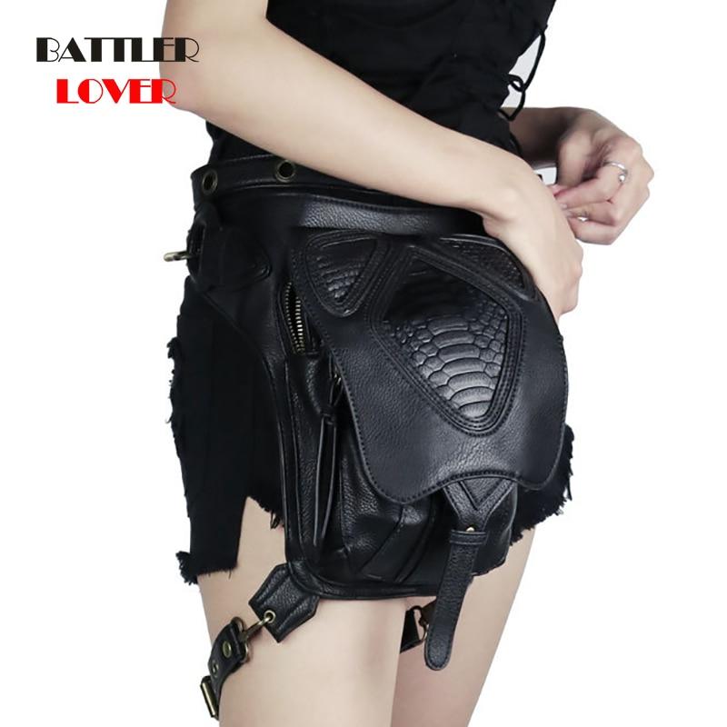 2019 Hot Sale Steam Punk Bag Rock Canvas Steampunk Bag Retro Goth Shoulder PU Leather Waist Bag For Women Black Mini Fanny Packs