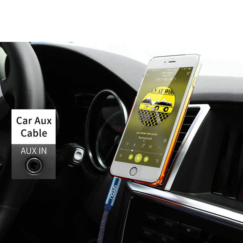 Кабель Aux, SPEDU 3,5 мм jack Плетеный деним Премиум вспомогательный аудио кабель для автомобиля Наушники Динамик iphone IPod 3,5 мм Aux