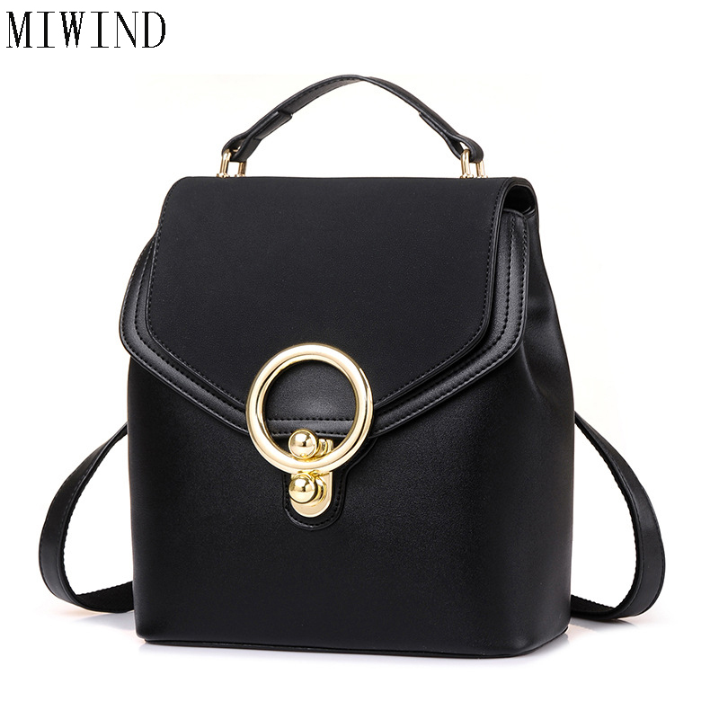 MIWIND Fashion Women Backpack College Style Good Quality School Backpacks Teenage Girls Women Pu Leather Travel