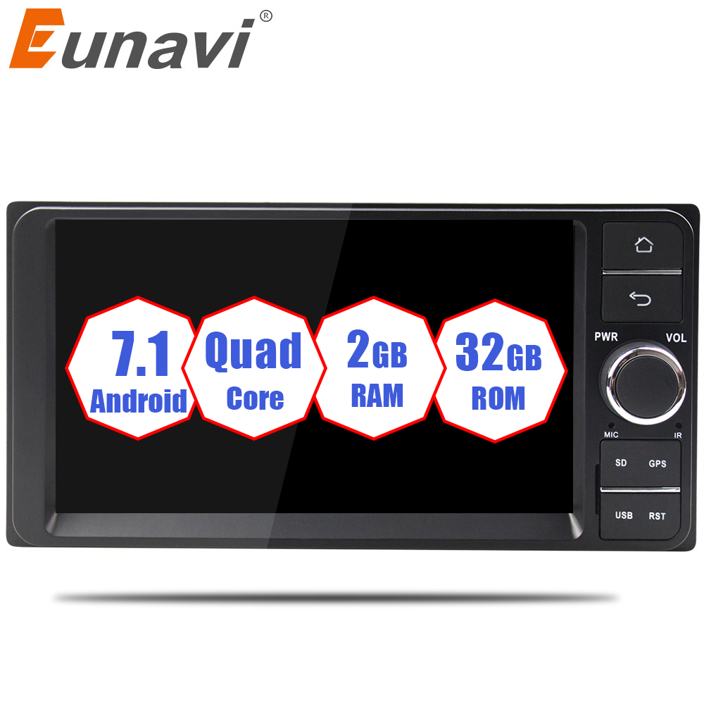 Eunavi Quad core 2 din Android 7.1 2G RAM car dvd player for Toyota Hilux VIOS Old Camry Prado RAV4 Prado 2003-2008 car radio купить в Москве 2019