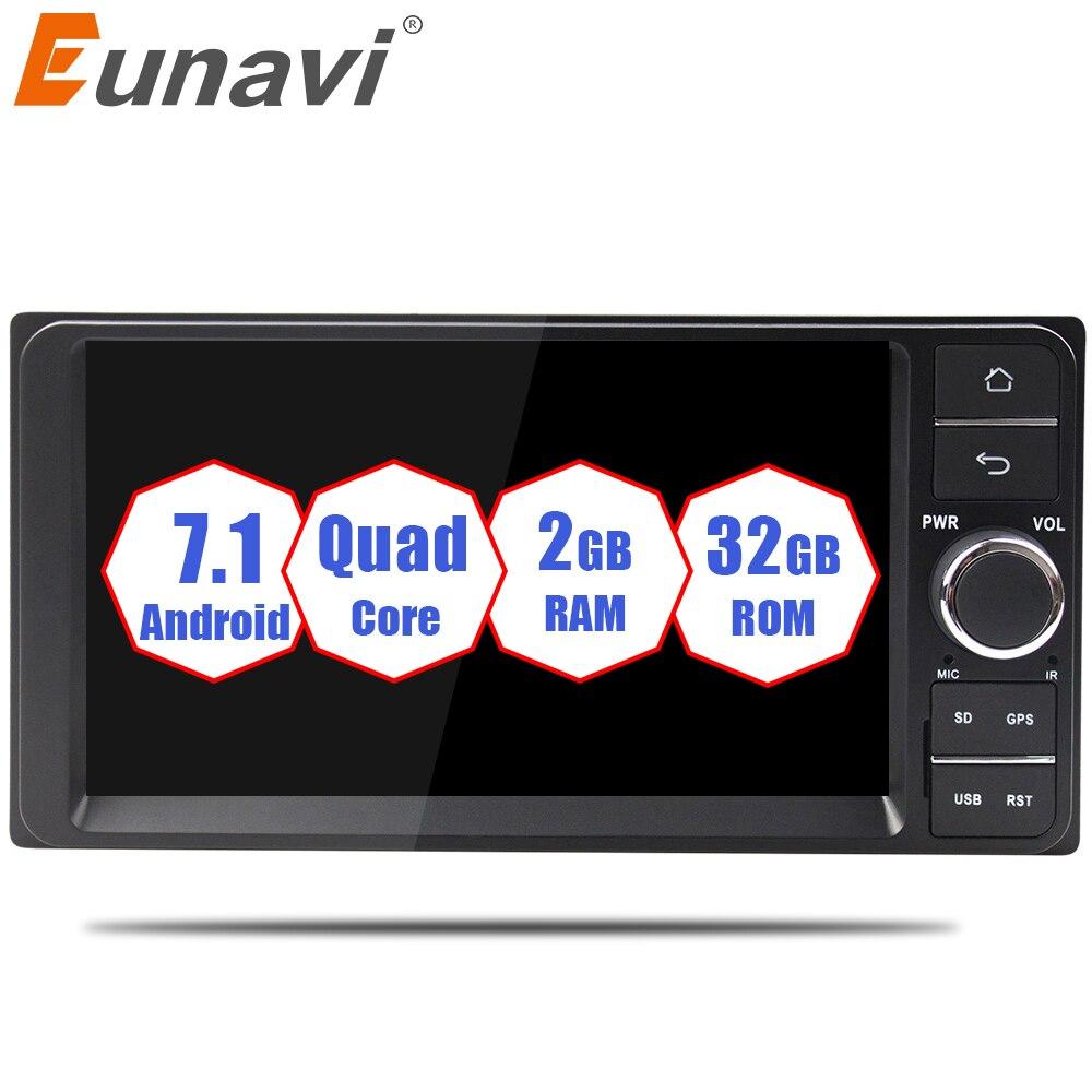 Eunavi Quad core 2 din Android 7.1 2g RAM lecteur dvd de voiture pour Toyota Hilux VIOS Vieux Camry Prado RAV4 Prado 2003-2008 voiture radio