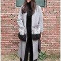 [XITAO] nuevo invierno de Corea Del viento casual bolsillos patchwork faux fur largo ancho-forma de la cintura Con Cuello En V abierto puntada femenina mezclas AKB-001