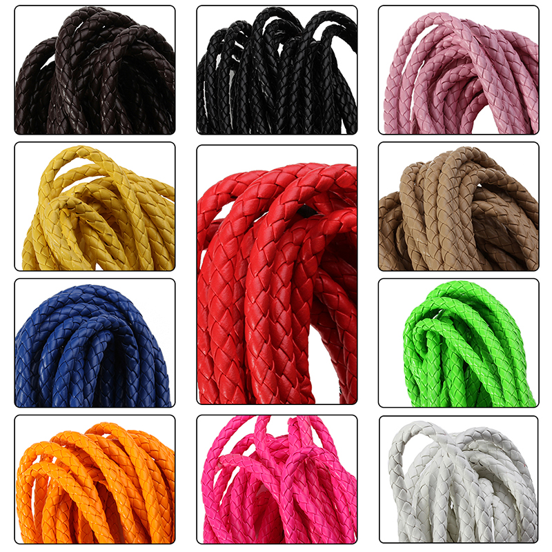 5m/lot 11 Colors Dia 6mm Round Braided PU Leather Cord Rope Thread Necklace Bracelet for DIY Jewelry Material Findings F2023 artificial leather rope round collarbone necklace