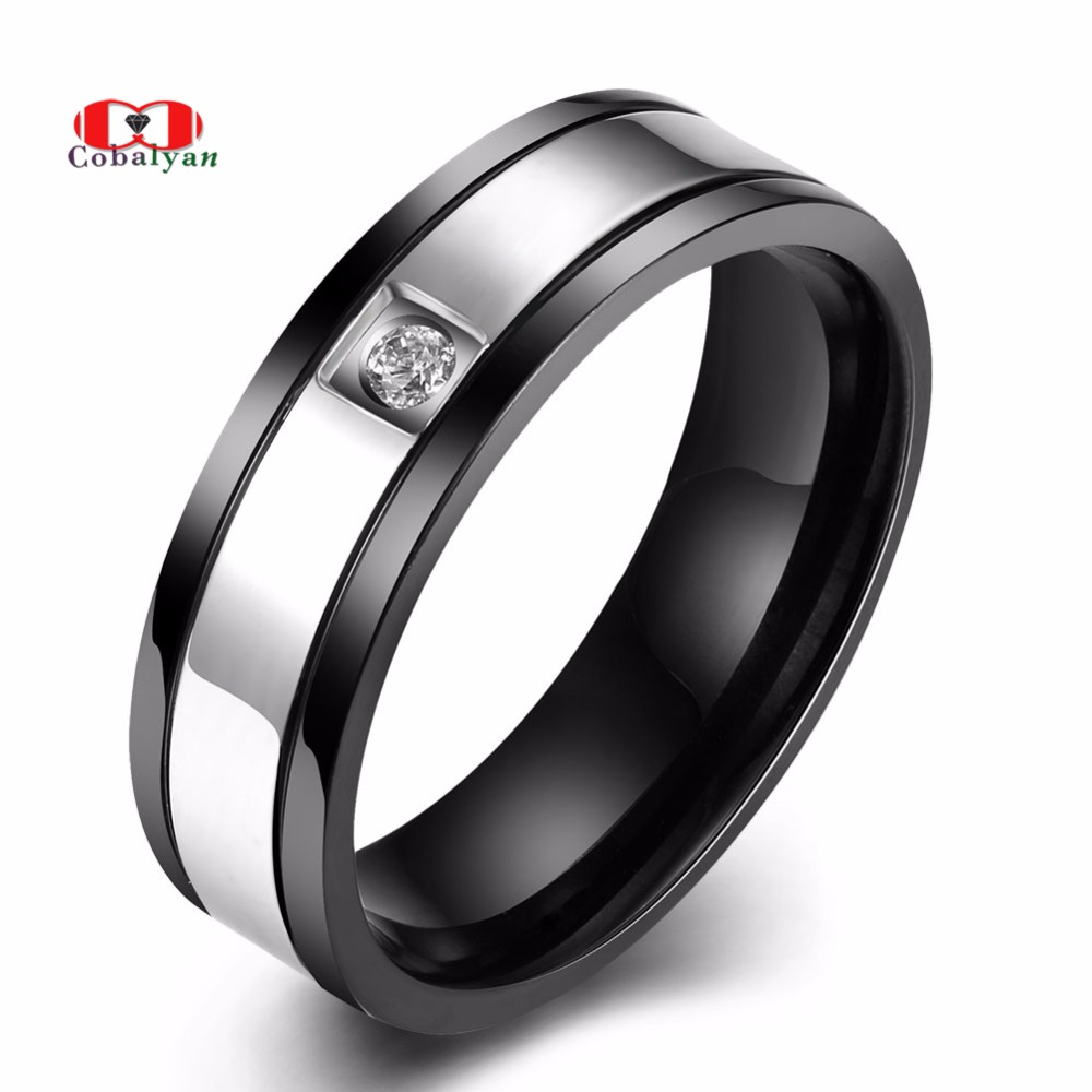 2018 Hot Sale Gun Plated Men Rings 360L Stainless Steel Personality AAA Zircon CZ Big Size Men Jewelry Rings Full Size