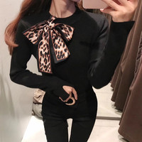 Autumn Women Sweater 2019 New Female Slim Winter Knitted Sweater Flare Long Sleeve Knitting Pullover Bow Lace Up Womens Sweater