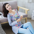 LIKEPINK 2017 Pyjamas Women Pajama Sets Cotton Pijama Mujer Stitch Pullover O-Neck Femme Long Sleeve Female Blue Sleepwear