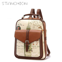 STANCHION PU Leather Printing Backpack College Style Women Backpack School Bags For Teenagers Ladies Bag Women Mochila Feminina