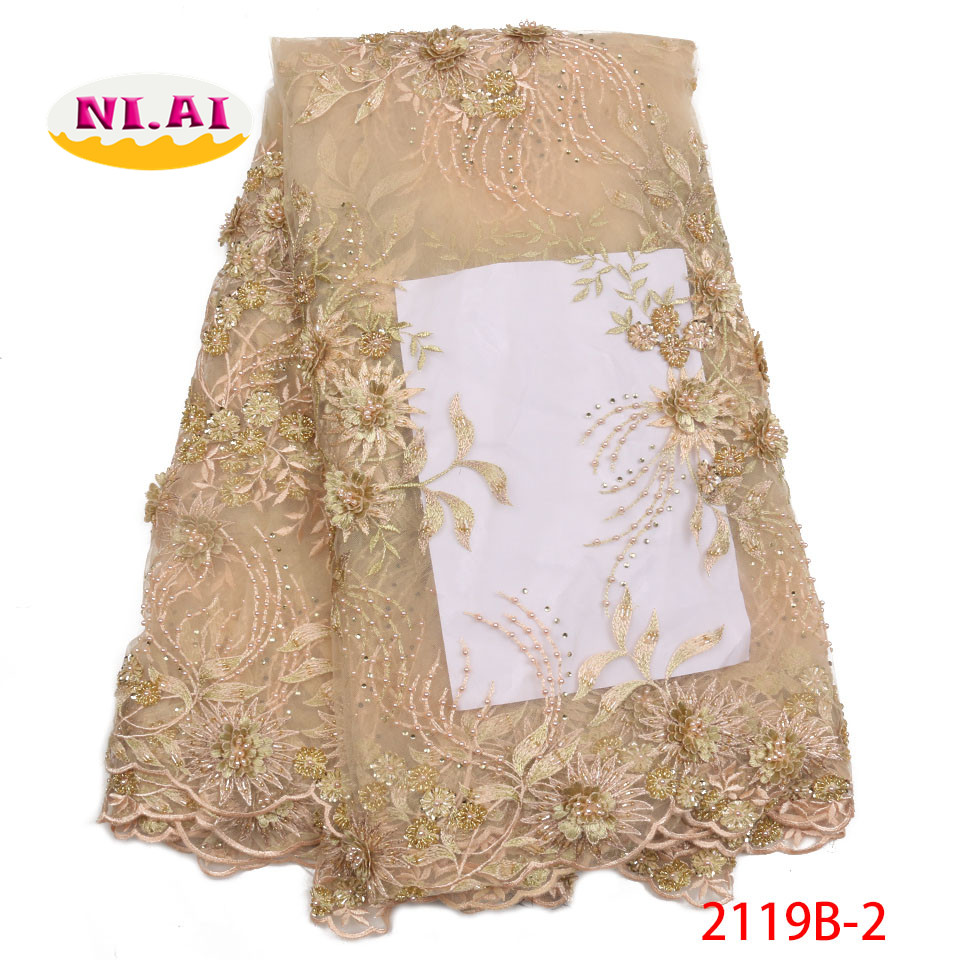 Latest Handmade Beaded African Laces 2018 Gold Lace Fabric Newest Lace Applique For Wedding Luxury Dresses