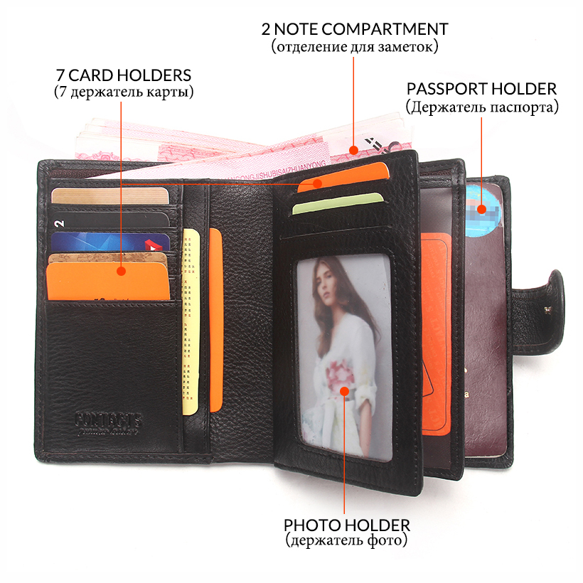 Image 5 - 2020 Passport Wallet Men Genuine Leather Travel Passport Cover Case Document Holder Large Capacity Credit Card Holder Coin Pursecredit card holdercase documentscard holder -