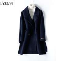 Autumn Winter Double Breasted Cashmere 100 Wool Woolen Coat Loose Jacket Women 2017 High Quantity Ladies