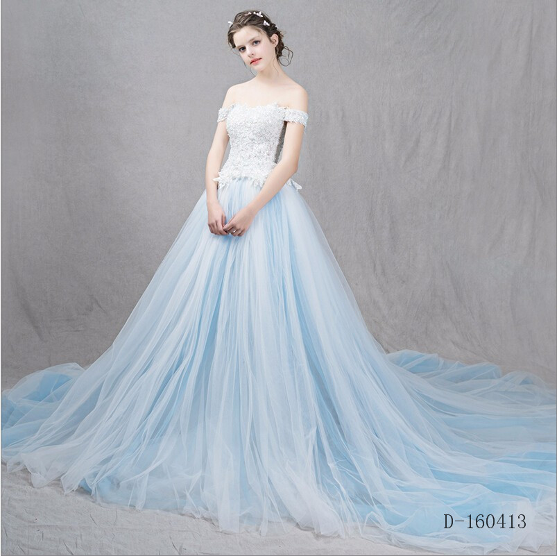 Wedding Dress White And Blue