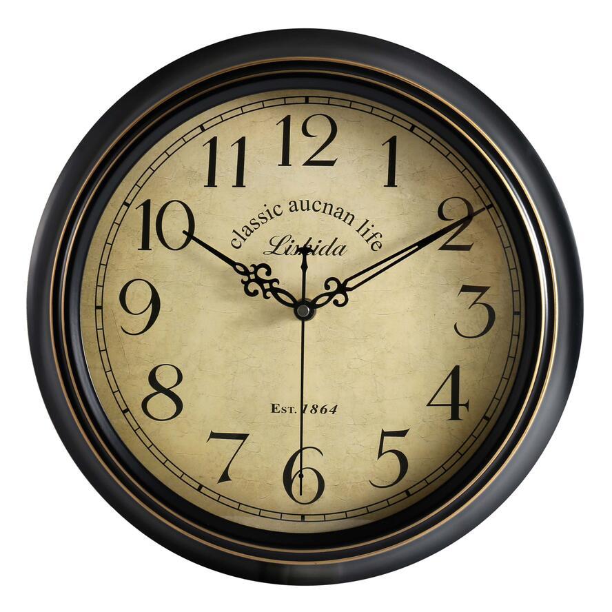 12/14-Inch Round Classic Clock Retro Non Ticking Quartz Decorative Wall Clock