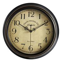12/14 Inch Round Classic Clock Retro Non Ticking Quartz Decorative Wall Clock