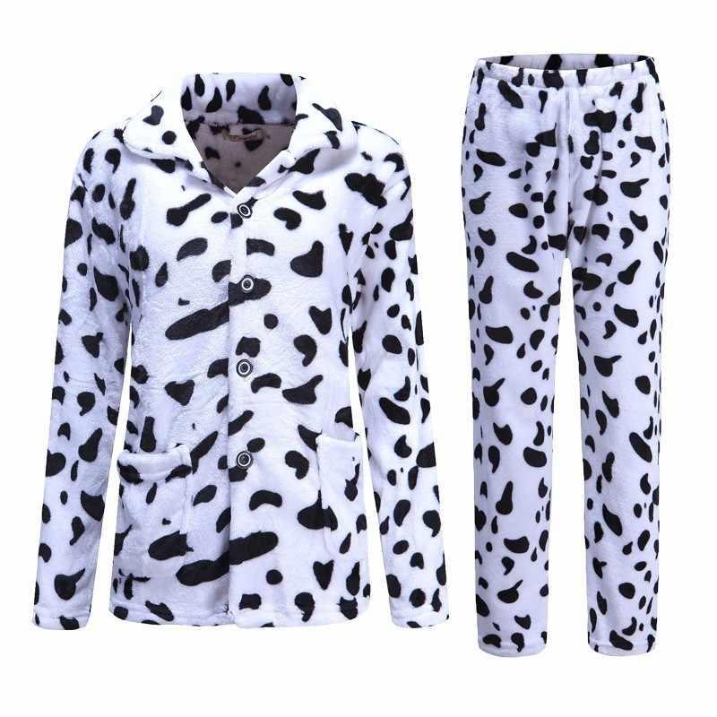 afd5076d20 ... 2018 Sleep Winter Coral Fleece Men Pajama Sets Long Sleeves Thick Warm  Men Sleepwear Suits Flannel ...