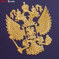 Tres rateles MT-001XS 4*3,4 cm Escudo de Armas de Rusia níquel Metal calcomanías Rusia Federación coche pegatinas para teléfono Móvil