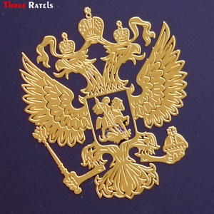 Three Ratels Coat of Arms of Russia Nickel Metal decals Russian Federation car stickers for mobile phone Eagle Emblem for car(China)