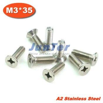 1000pcs/lot DIN965 M3*35 Stainless Steel A2 Machine Phillips Flat Head (Cross recessed countersunk head screws) Screw