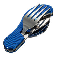 3 in1 Multi-Function Tool Foldable Fork Spoon Set Stainless Steel Camping Travel Picnic Cutlery Portable Outdoor Tableware
