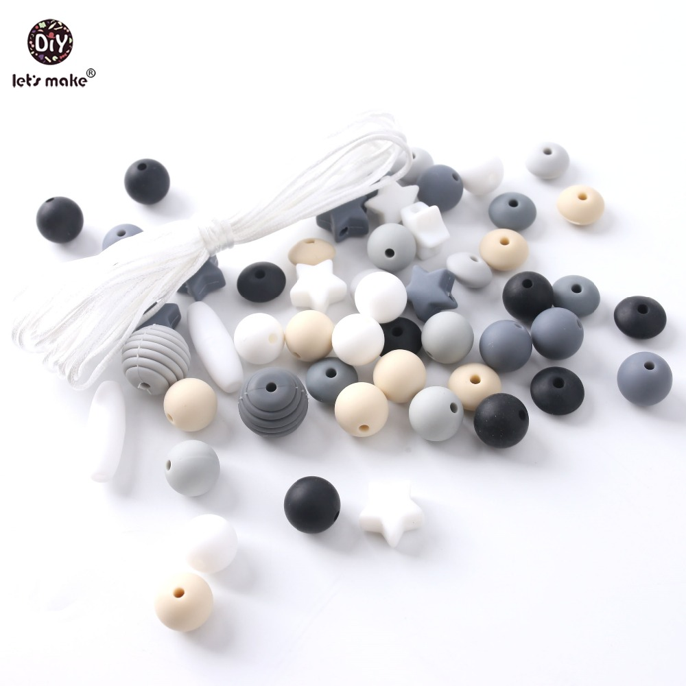Let's Make Baby Teether Mix Rodent Silicone Beads Mini Stars 50PCS BPA Free Silicone Teether DIY Children Necklace Teething Toys