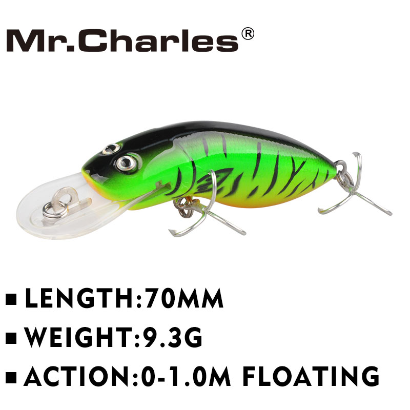 Mr.Charles MR39S 1 Pcs fishing lure , 70mm/9.3g quality professional minnow hard bait 0-1.0M Floating 3D Eyes Fishing Tackle