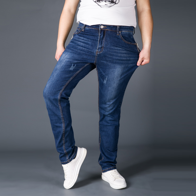 Big Size 46 48 Jeans Man 2019 High Stretch Straight Long Slim Trousers Fashion Casual Denim Male Business Jeanswear Pants