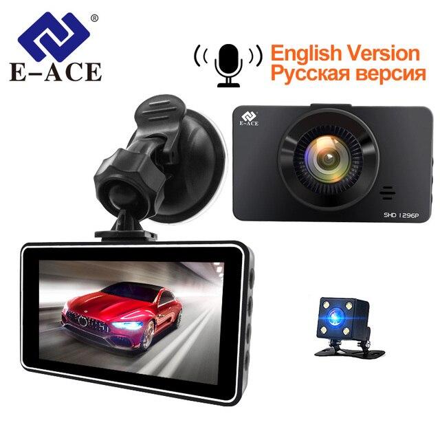 E ACE Mini Dash Camara Video Recorder Car Dvr Voice Contro Full HD 1296P 3.0 Inch Dashcam Auto Registrator Nigh Vision Dual Lens