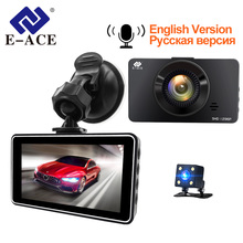 E ACE Mini Dash Camara de Video del coche Dvr voz Contro Full HD 1296 P 3,0 pulgadas cámara de registrador cerca visión doble lente