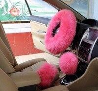 3Pcs/set Pink Long Plush Warm Steering Wheel Cover Woolen Handbrake Car Accessory