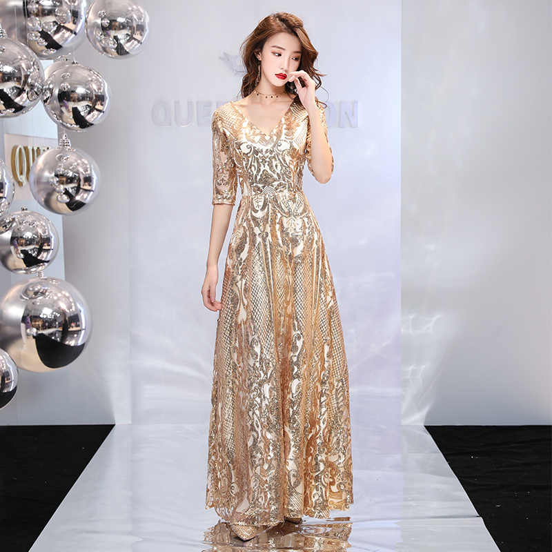 Sequin Cocktail Dress ... weiyin 2019 Luxury Long Sequin Evening Dress Gold A Line V Neck Cheap Evening  Gowns Half ...
