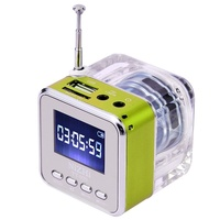 Кристалл освещение цифровой мини-динамик Музыка Портативный fm-радио Micro SD/TF USB диск mp3 ЖК-дисплей динамик часы радио RADT028