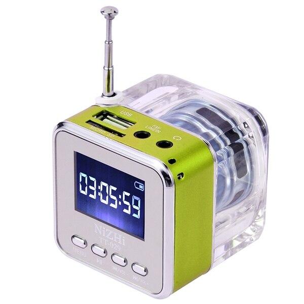 Iluminação de cristal mini orador digital música portátil rádio fm micro sd/tf usb disco mp3 display lcd alto-falante rádio relógio radt028