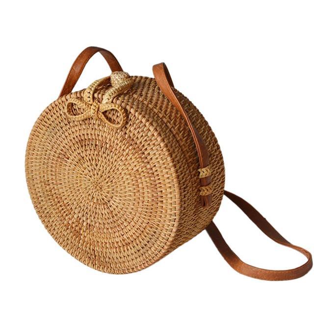 8e8d5df18b Hand-woven Round Rattan Bag Natural Crossbody Bag Fashionable Beach Straw  Braided Bags For Women