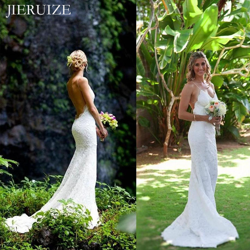 JIERUIZE White Lace Mermaid Wedding Dresses V-neck Backless Summer Dress Wedding Gowns Bride Dresses Robe Mariage