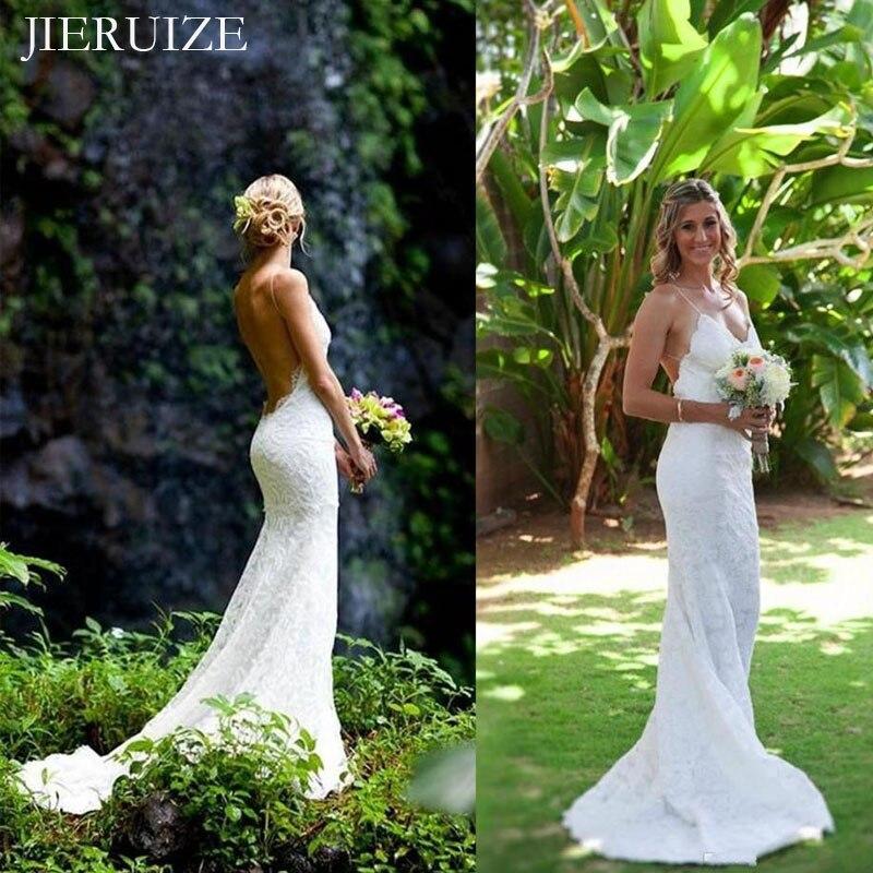 JIERUIZE blanc dentelle sirène robes de mariée col en v dos nu robe dété robes de mariée robes de mariée robe mariage