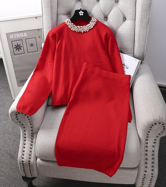 Graceful Pearl Collar Women Loose Babydoll Sweater Tops + Pencil Skirts Winter 2pcs Clothes Kit 6colors