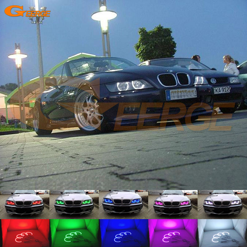 For BMW Z3 1999-2002 HALOGEN headlight Excellent Angel Eyes Multi-Color Ultra bright RGB LED Angel Eyes kit Halo Rings super bright led angel eyes for bmw x5 2000 to 2006 color shift headlight halo angel demon eyes rings kit
