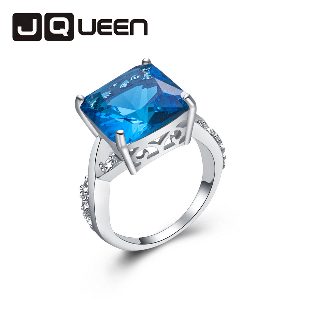 Beauty Elegant Blue Womens Ring Silver Plated Finger Jewelry Bijoux Romantic Office Lady Retail