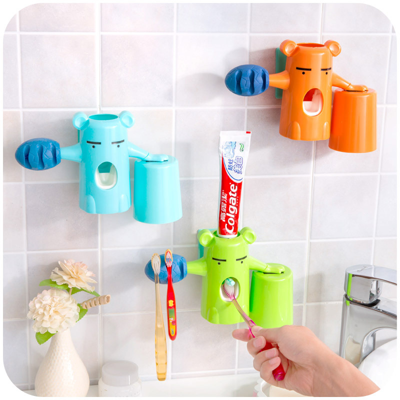 Charmant Automatic Toothpaste Dispenser Kids Bear Baby Toothbrush Holder Colorful  Bathroom Set Automatic Toothpaste Dispenser For Kids In Bathroom  Accessories Sets ...