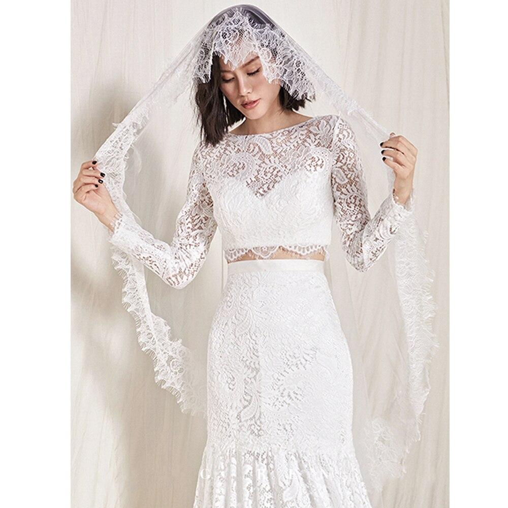 2 M One Layer Long Bridal Wedding Veils Luxe Lace Trim Edge Tulle  For Brides Voile De Mariage  Dentelle Velo De Novia Blanc